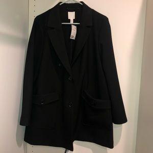 NWT H&M Black Coat Womens M